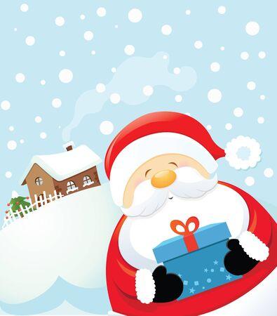winter fun: Santa with Gift Illustration