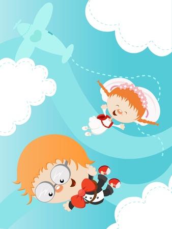 Cute Bride and Groom Skydiving Ilustracja