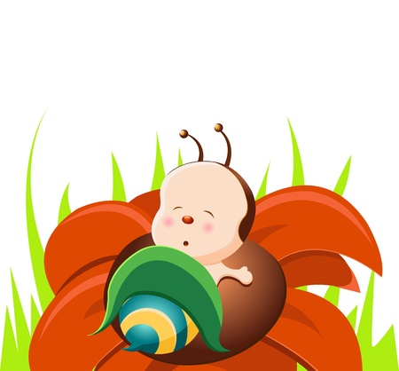 Sleeping Baby Bee Vector