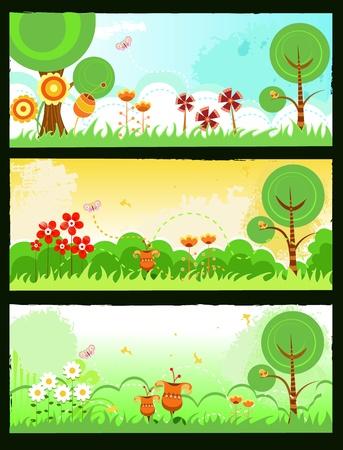 non urban scene: Spring Banners Illustration