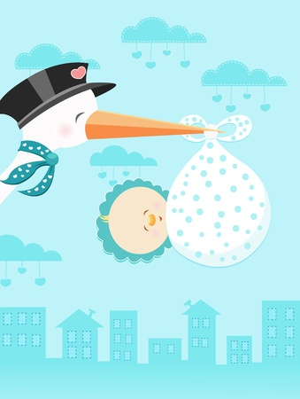 Stork Flying With Baby Boy Vector