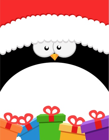 Big Penguin With Gifts Vector