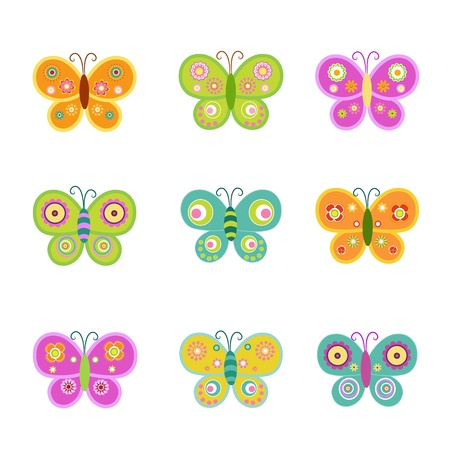 butterfly cartoon: Retro Butterflies