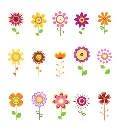 flor caricatura: Conjunto de flores retro