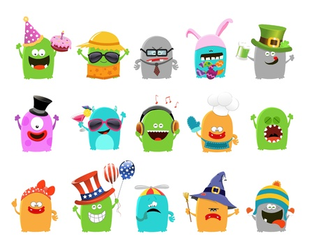 monster cartoon: Collection of Cute Little Monsters
