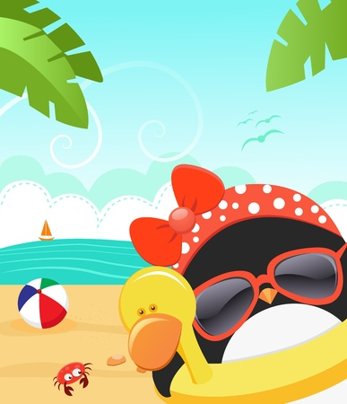 Penguin Enjoy Summer Vector