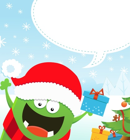 Monsters Christmas Message Vector