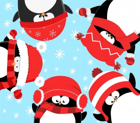 pinguino caricatura: Ping�inos que celebran la Navidad Vectores