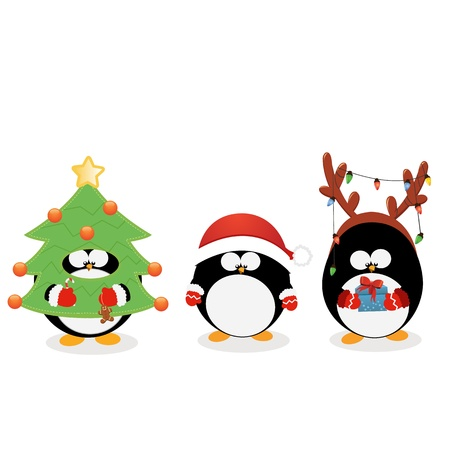 christmas penguins: Ping�ino de la Navidad Set Vectores