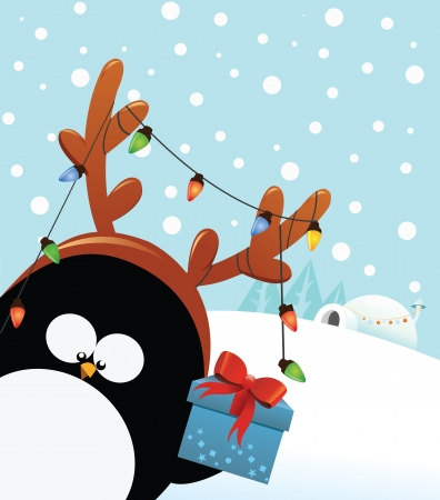 Reindeer Costumed Penguin With Gift Vector