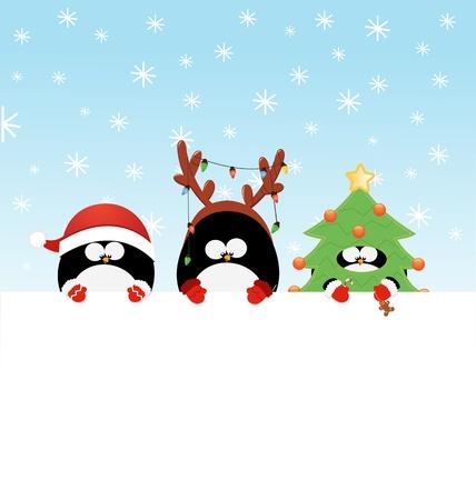 pinguino caricatura: Navidad pingüinos disfrazados con papel en blanco Vectores