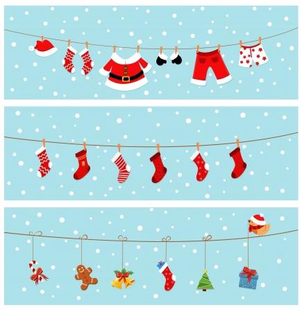 ropa colgada: Banners de Navidad Vectores