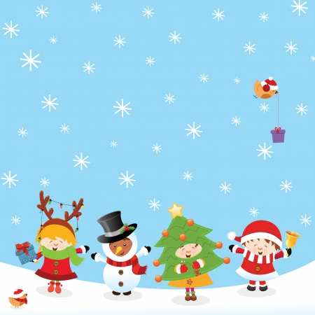 Kids With Christmas Costumes Vector