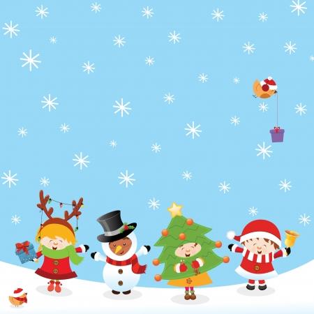 tanzen cartoon: Kids With Weihnachten Kost�me Illustration