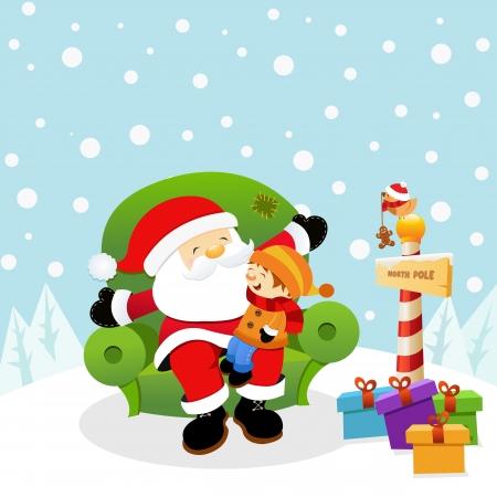 Santa Met Kid Vector Illustratie