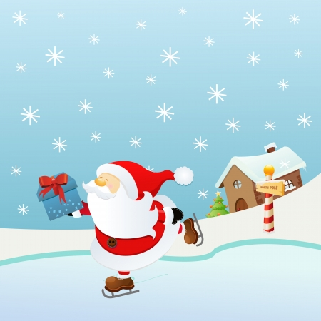 Ice Skating Santa Stock Vector - 16503335