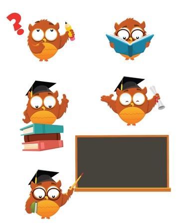 Intelligente Uil Set Stock Illustratie