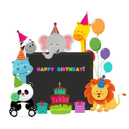 Verjaardag Dieren Stock Illustratie