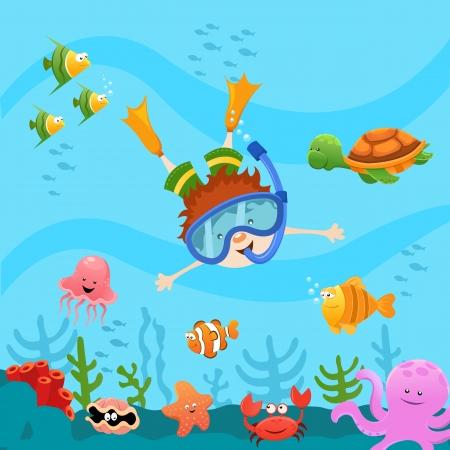 etoile de mer: Kid plongée