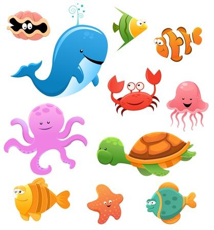 Animales del mar Ilustración de vector