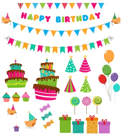 birthday cartoon: Retro Birthday Set Illustration