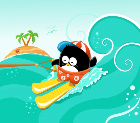 Waterskiing Penguin Illustration
