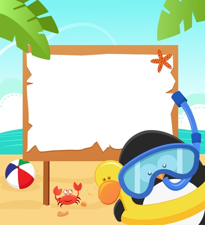 baby swim: Penguin Wearing Snorkel Illustration