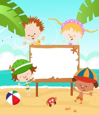 beach ball girl: Kids  Summer Message Illustration