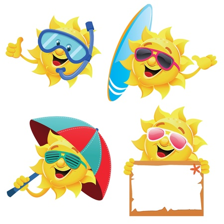 smiling sun: Sun Characters Illustration