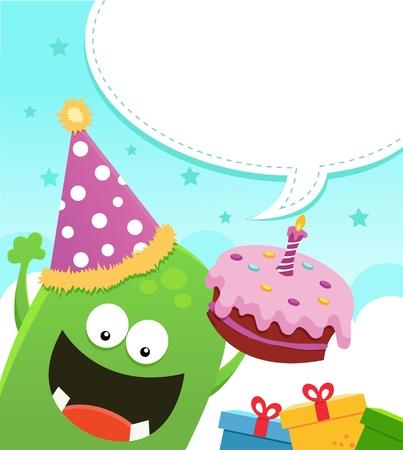 torta candeline: Mostro con torta di compleanno
