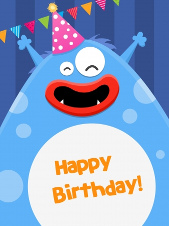Big Birthday Monster Vector