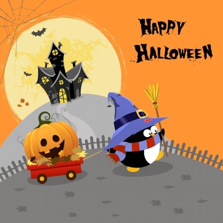 Penguin Delivering Halloween Pumpkin 向量圖像
