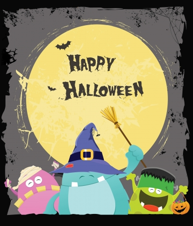 Halloween Monsters Card Vector