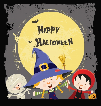 Halloween Kids Card Vector