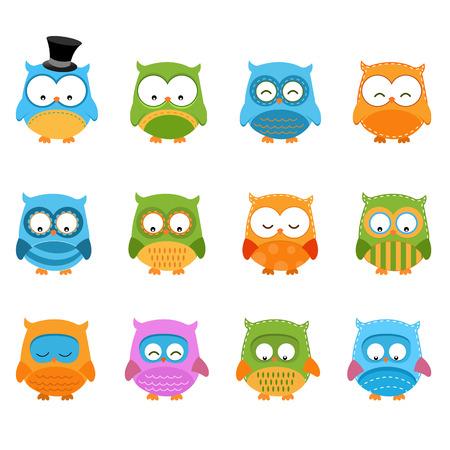 Retro Owl Set Zdjęcie Seryjne - 22899397