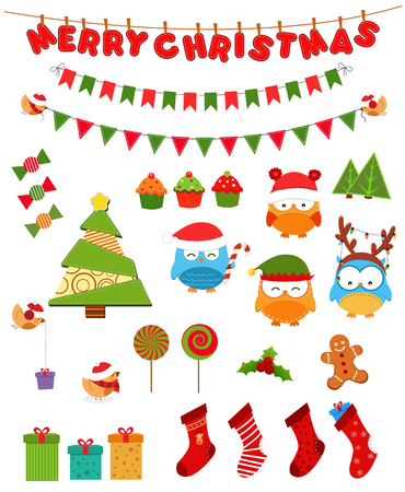Retro Christmas Set Vector