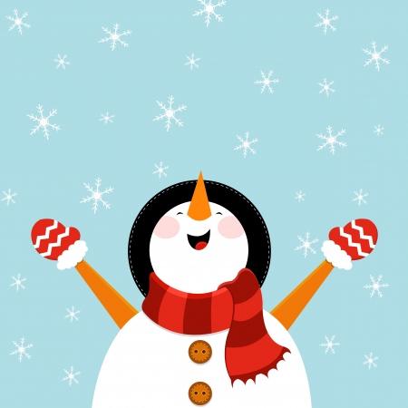 雪だるまを楽しんで