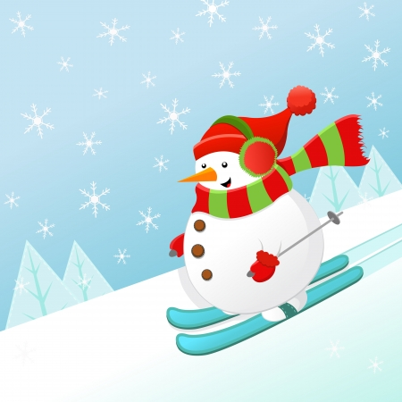 Snowman Skiing With Joy Vector