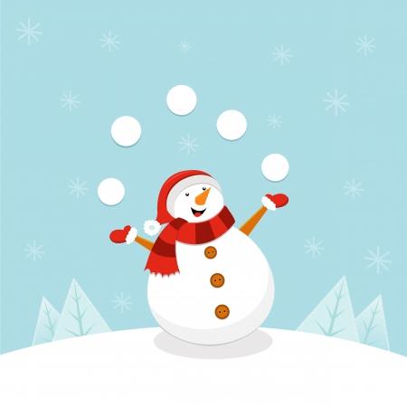 Muñeco de nieve que hace juegos malabares bolas de nieve