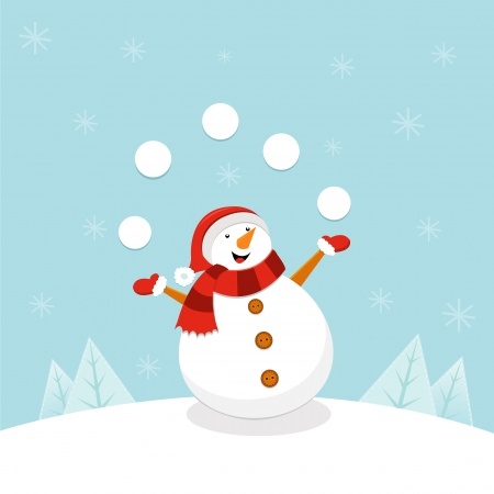 Snowman Juggling Snowballs Illustration