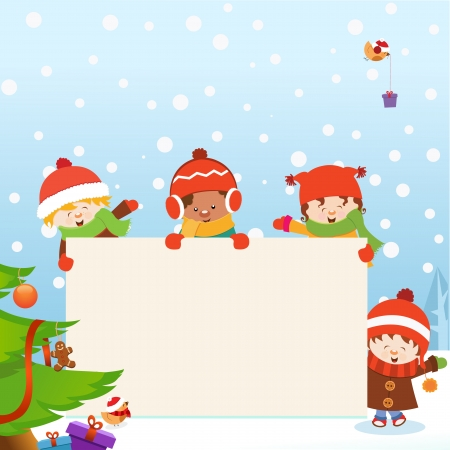 Kids  Christmas Message Vector