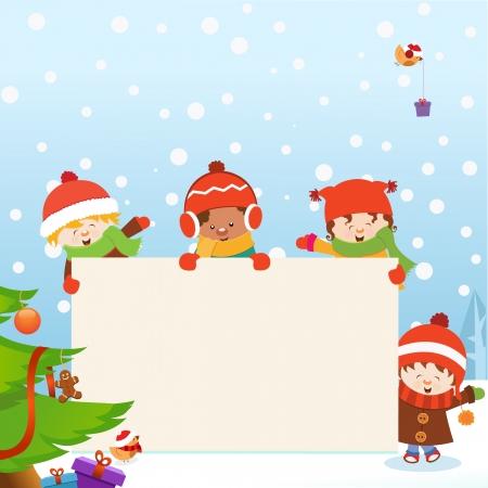 Kids  Christmas Message Zdjęcie Seryjne - 24569840