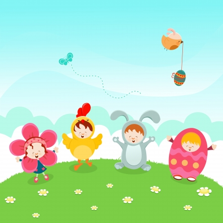 Kids Easter Party Vector