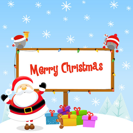 Santa Christmas Message 向量圖像