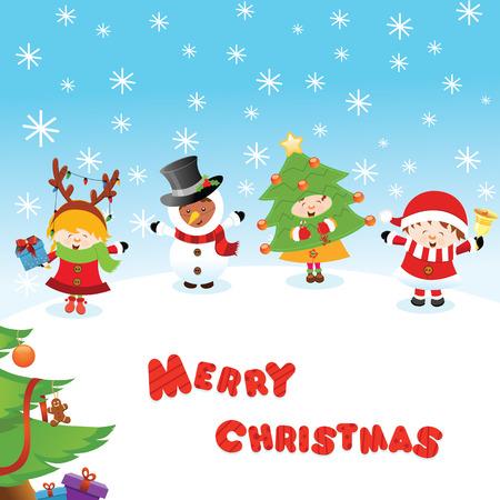 Costumed Kids Christmas Message 向量圖像