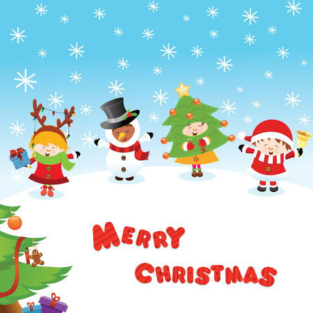 Costumed Kids Christmas Message Vectores