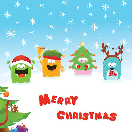 Costumed Monsters Christmas Message Vector
