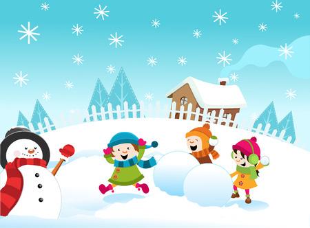 Children in Snowball Fight