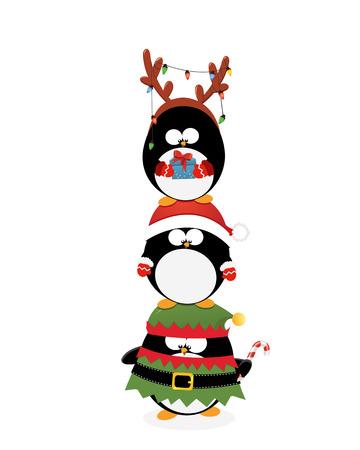 크리스마스 펭귄 쌓여 최대 일러스트