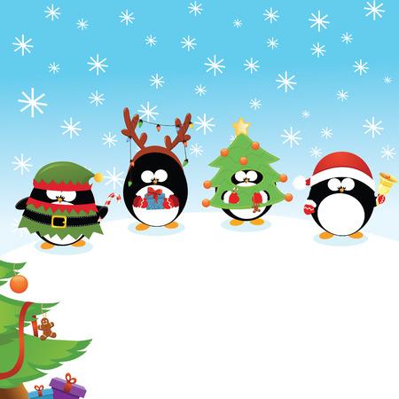 ペンギンのクリスマス カード  イラスト・ベクター素材